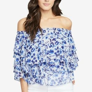 Rachel Roy Blue Floral Tiered Off-The-Shoulder Top